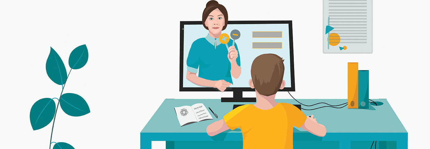 illustration of student using computer for online learning
