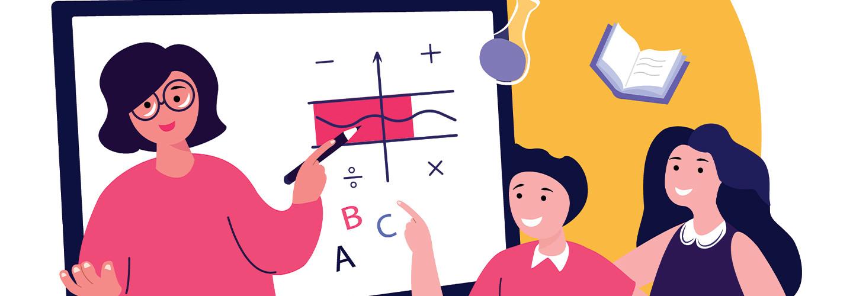 illustration of educator teaching remotely