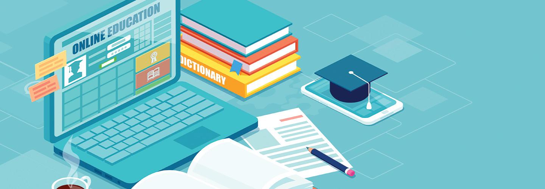 online education concept illustration of laptop on desk