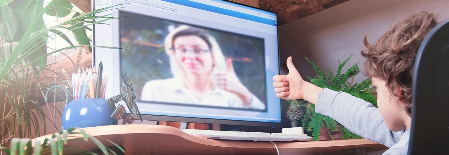 e-learning videoconference between teacher and student