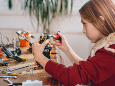 Student using robots